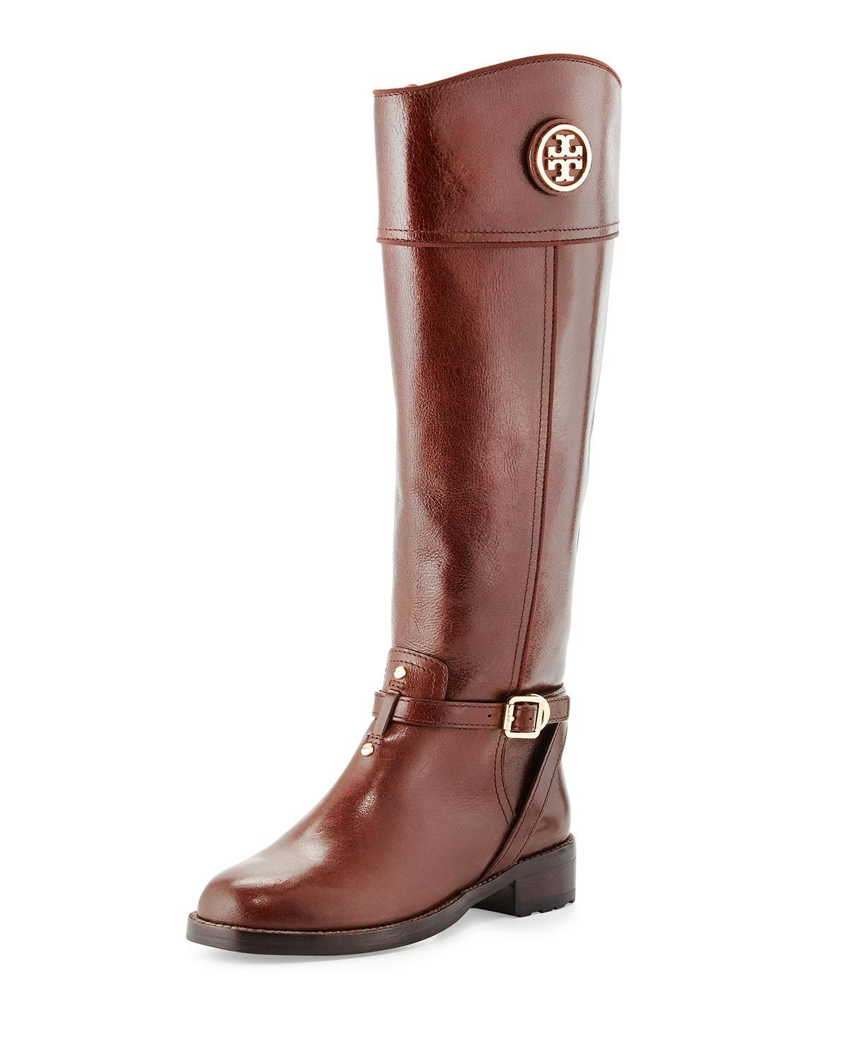 Tory Burch Brown/Almond Teresa Logo Riding Boots/Booties Size US 7 Regular (M, B)