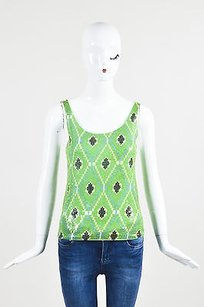 Tory Burch Green Blue White Top Multi-Color