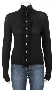 Tory Burch Ruffle Front Button Up Wool Knit Cardigan Sweater