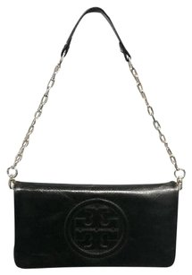 Tory Burch Leather Logo Embossed Chain Strap Bombe Reva B3391 Black Clutch