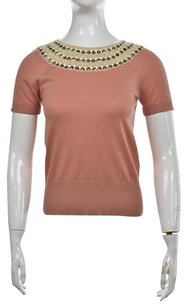Tory Burch Womens Beige Peach Sweater