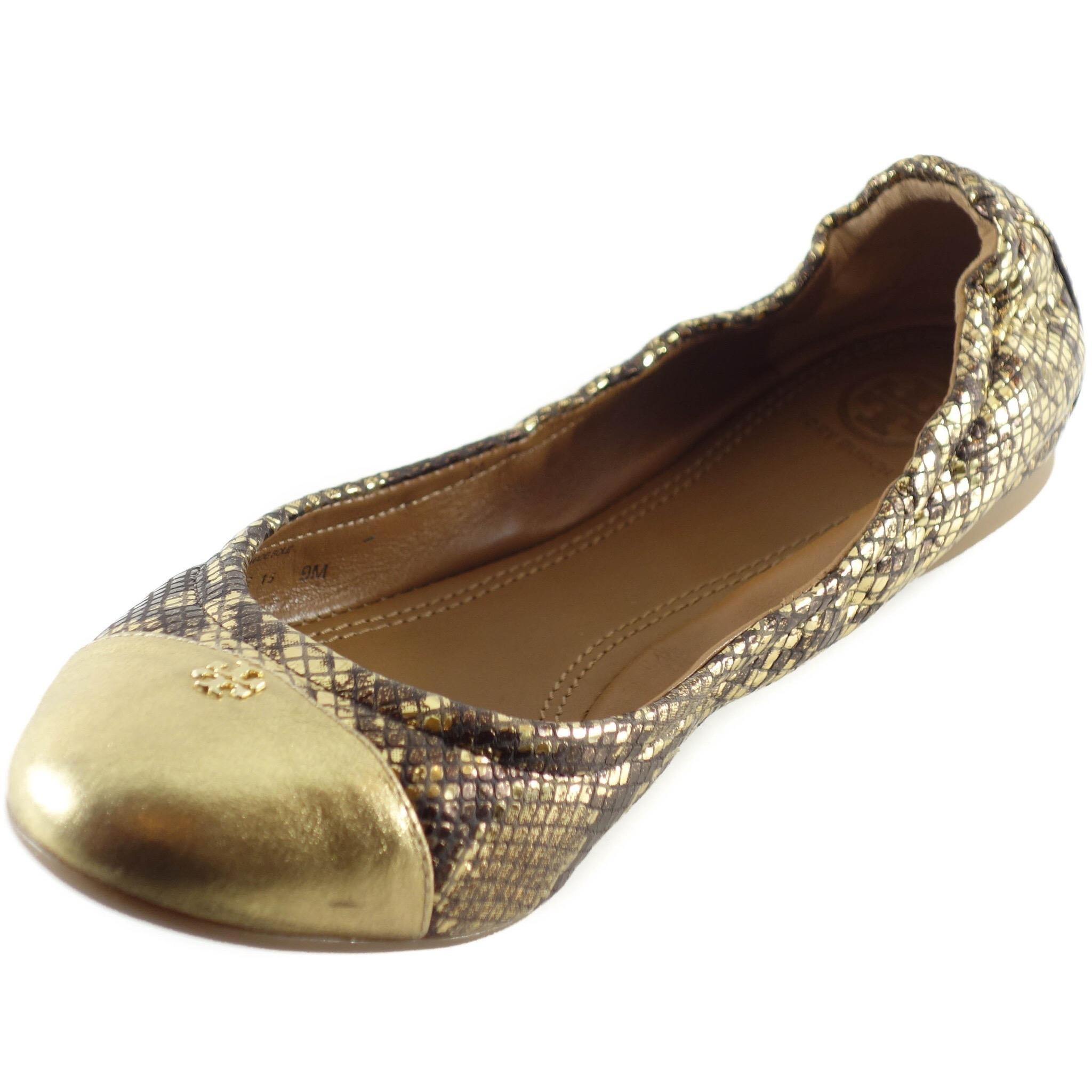 Tory Burch Gold York Metallic Roccia Powder Suede Ballet Flats Size US 7.5  Regular (M, B) - Tradesy