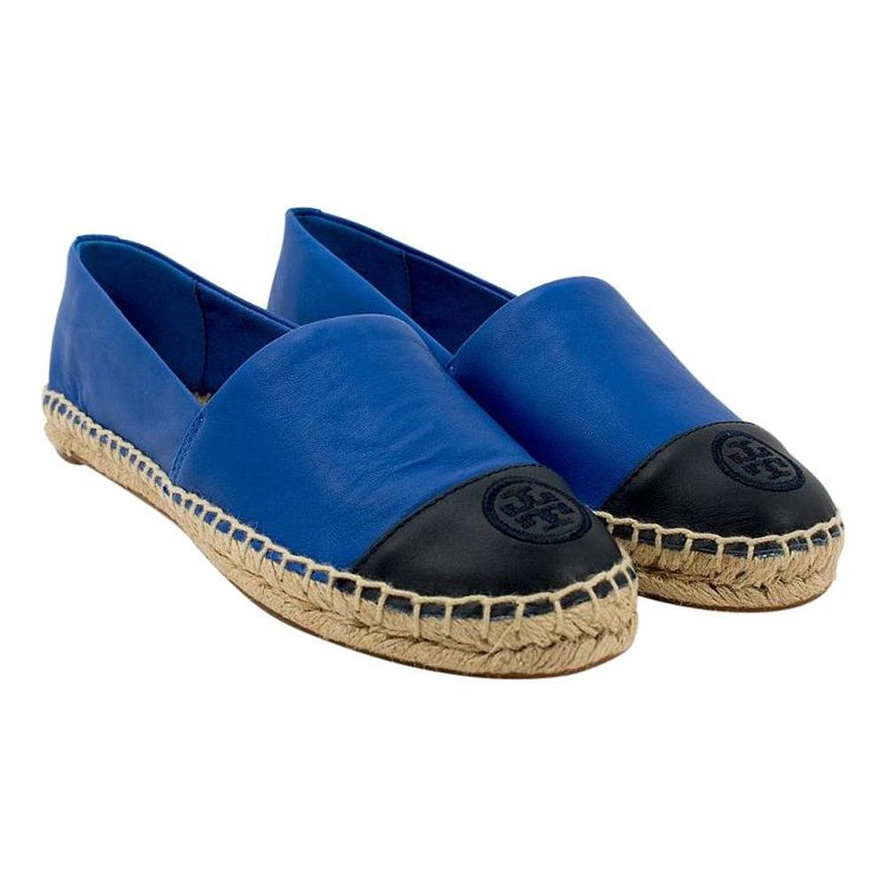 Tory Burch Jelly Blue/Tory Navy Color-block Espadrille Blue/Tory Flats