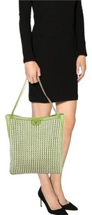 Tory Burch Leather Green Hobo Tote in Green, White, black, gold