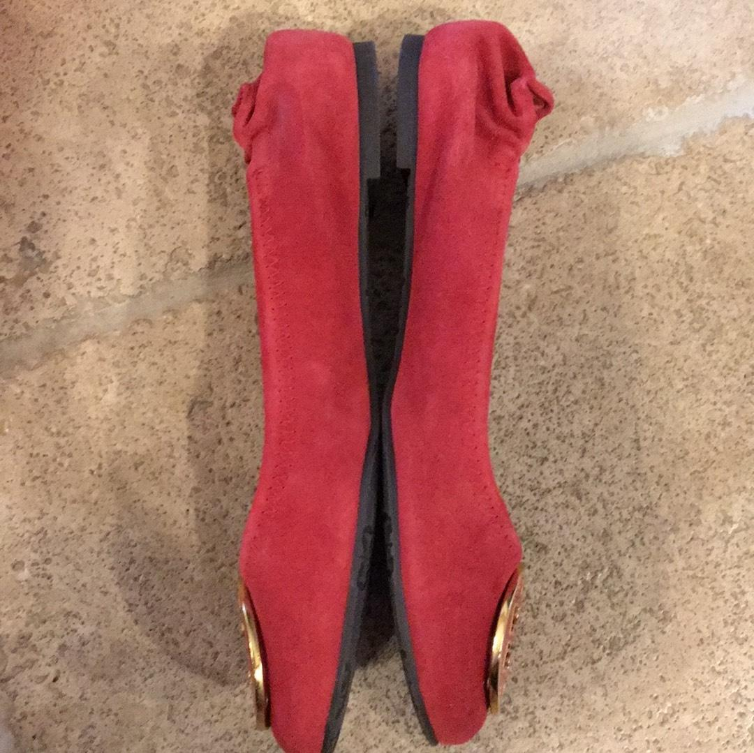check out c51b2 9bce8 ... Tory Burch Lipstick Red Red Red with Gold Enamel Logo 23098651 Flats  Size US 7.5 Regular ...