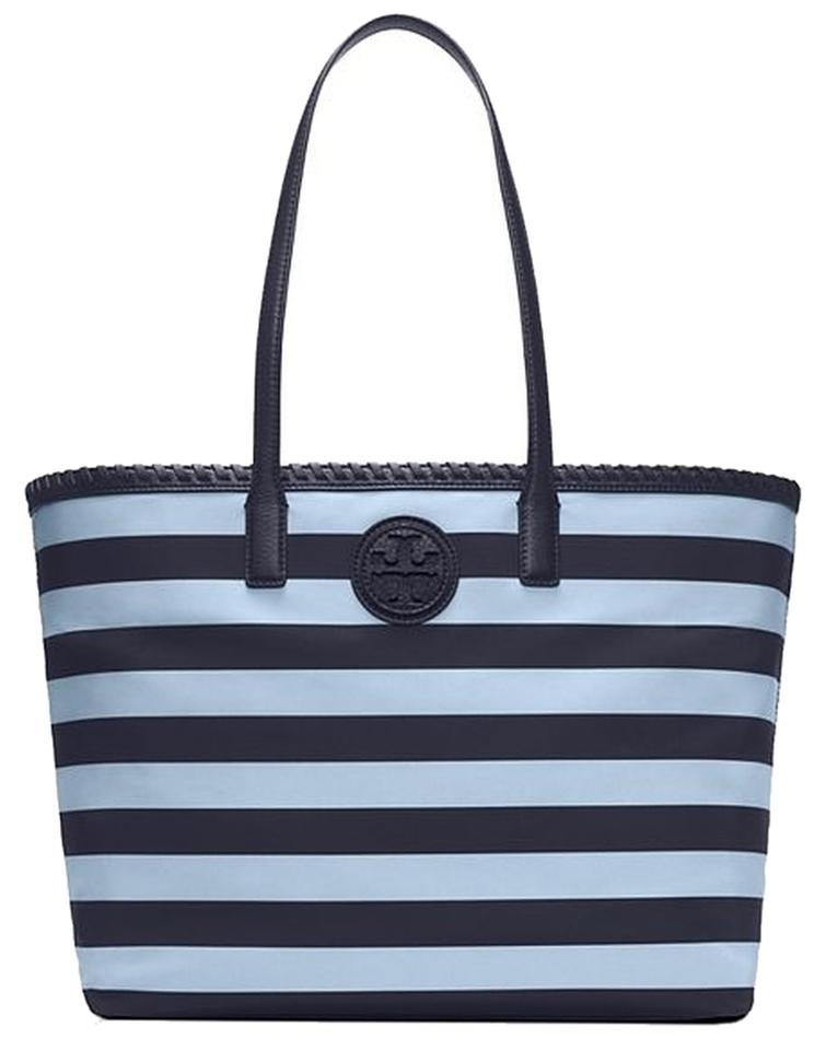 Tory Burch Nylon Tote in Tory Navy Classic Awning Stripe Combo B. 1234