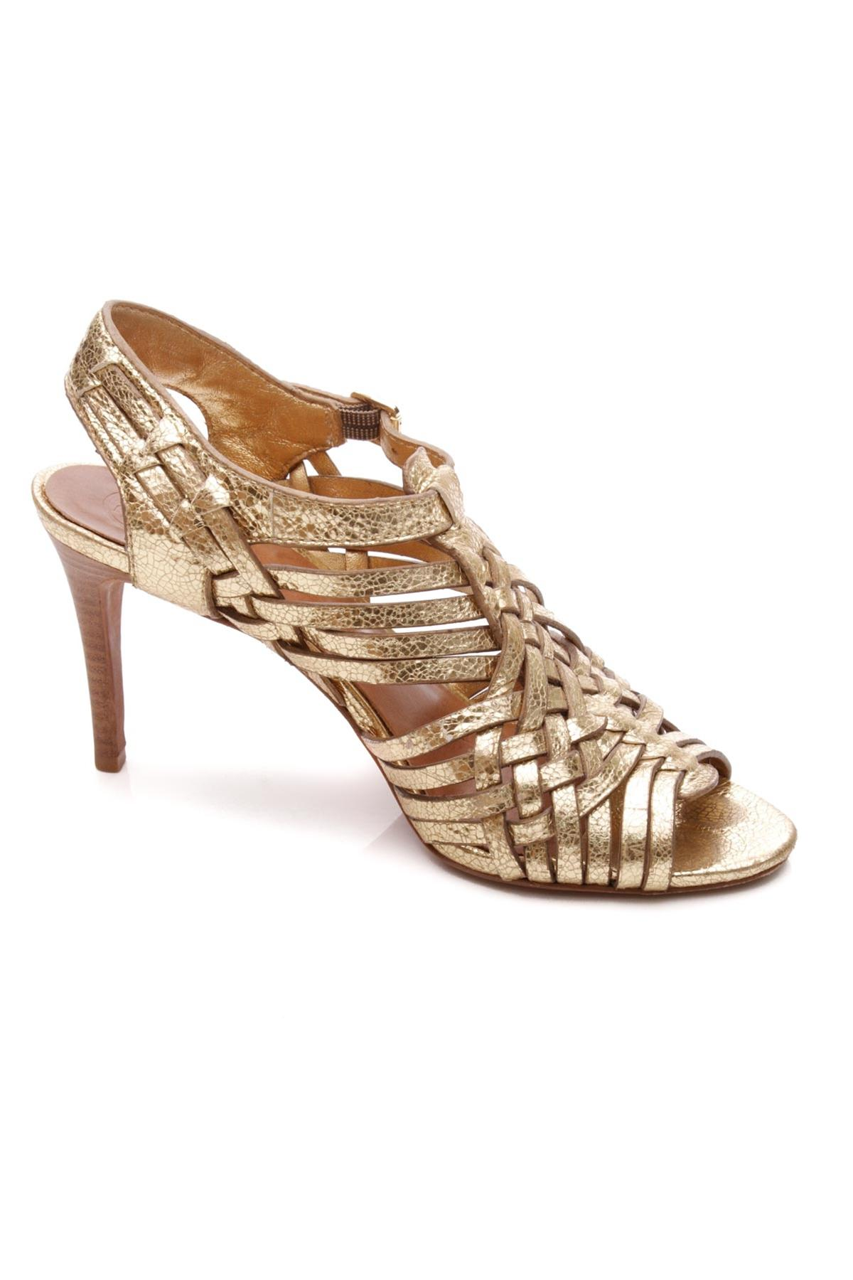 Tory Burch Metallic Gold Leather Nadia Sandals Size US 8.5 Regular ...