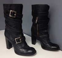 Tory Burch Leather Side Zip Gold Tone Logo Hardware B3490 Black Boots