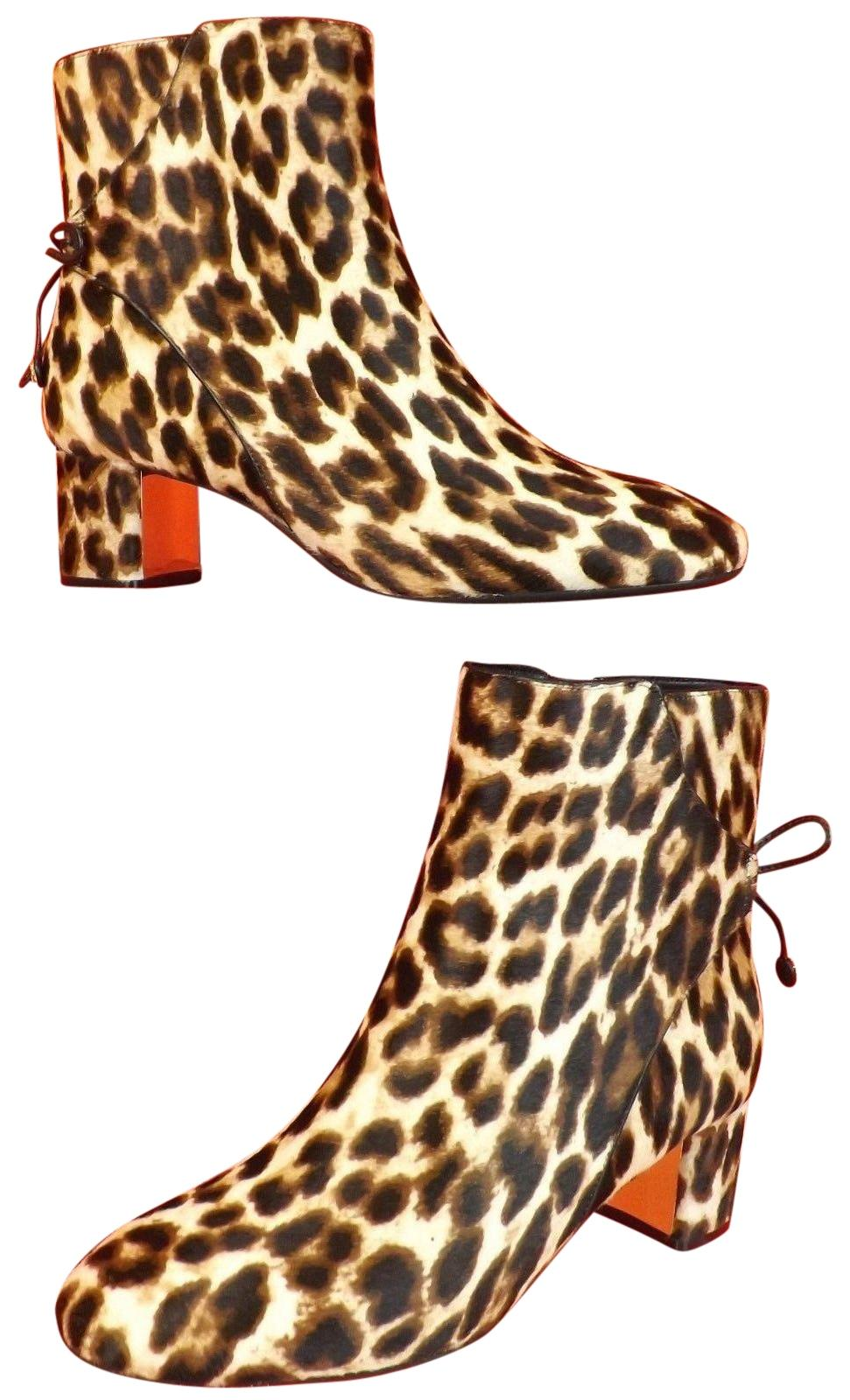 Tory Burch Multi-color Laila 50 Leopard Print Pony Hair Bow Gold Reva Zip Ankle Boots/Booties Size US 11 Regular (M, B)