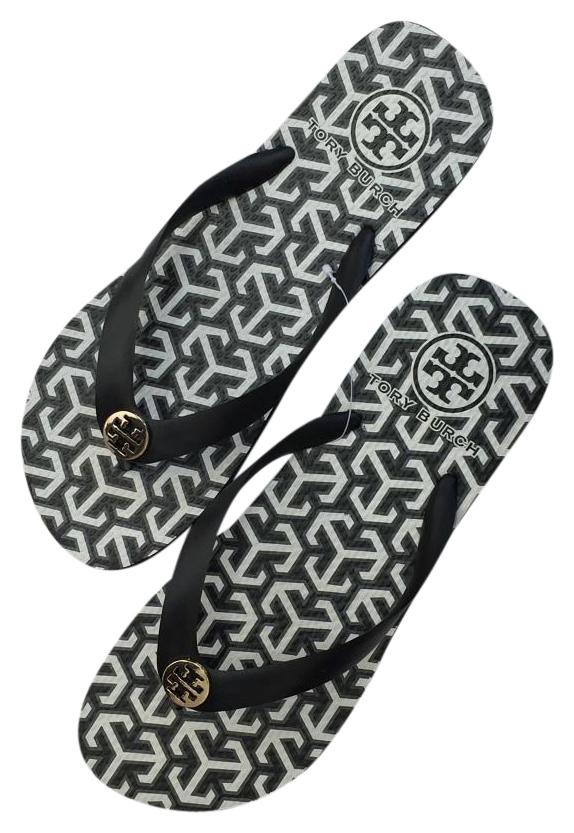 Tory Burch New 3t - Black White Regular Sandals Size US 9 Regular White (M, B) b83532