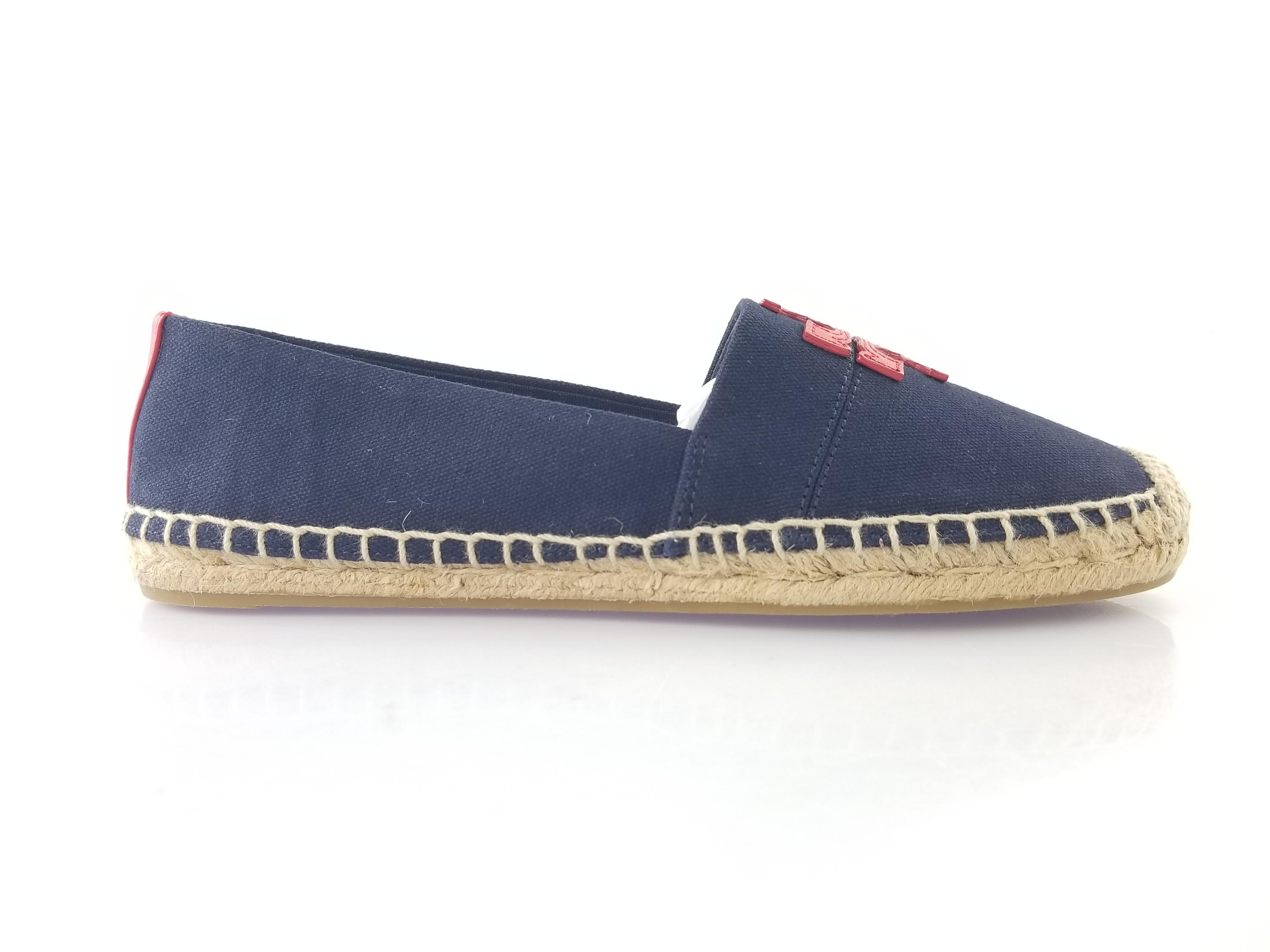 a785583f6c80 Tory Burch Perfect Navy and Nautical Red Weston Canvas Calf 7.5 Espadrille  Flats Size US 7.5 Calf Regular (M