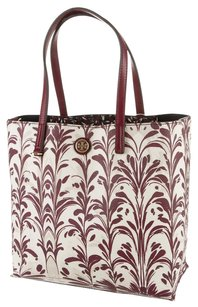 Tory Burch Red Brown White Multicolor Tote in Red, Brown, White, Ivory