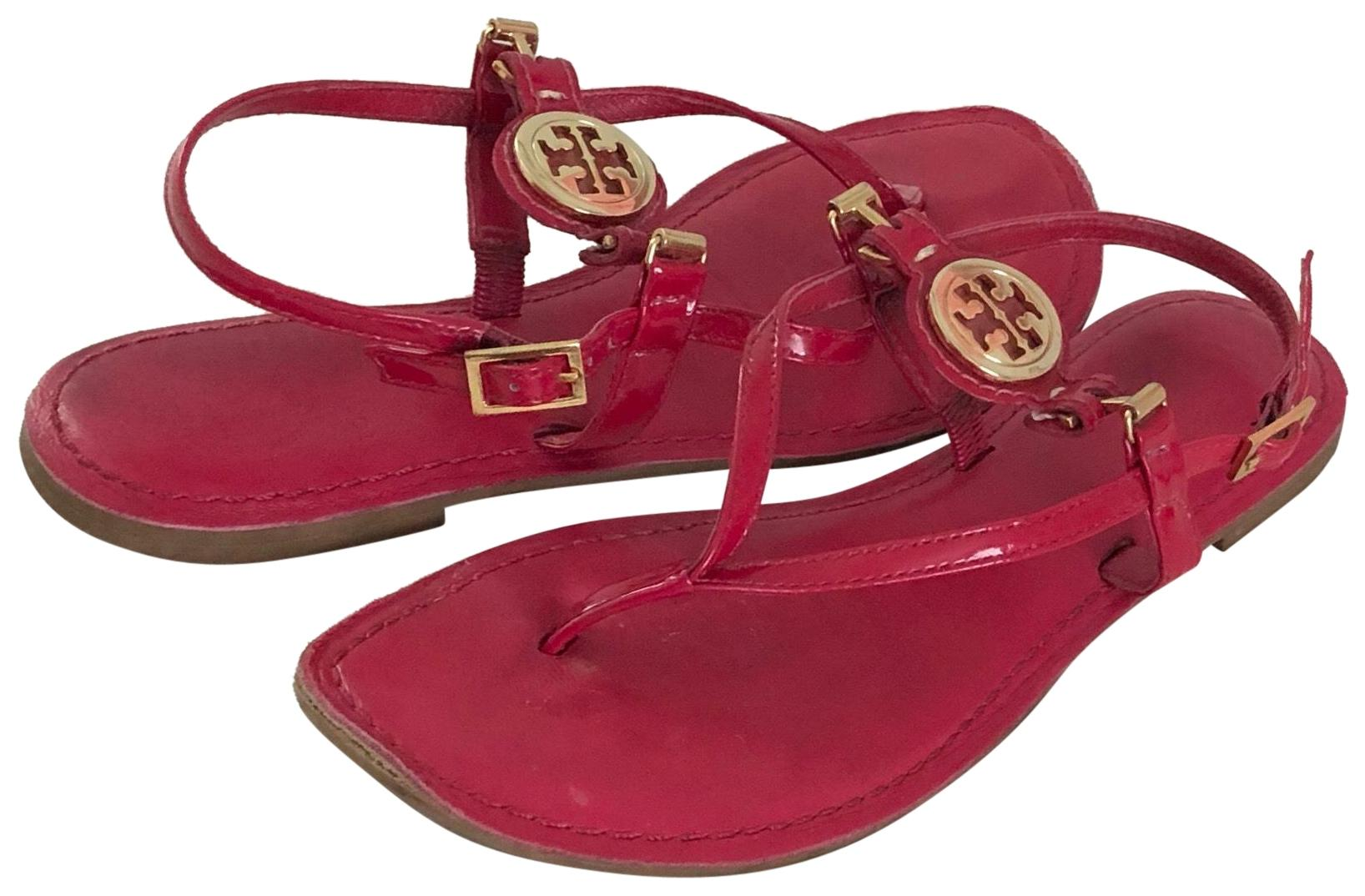 Tory Burch Red Dillan Leather Sandals Size US 6.5 Regular (M, B)