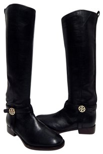 Tory Burch Leather Gold Medallion Tall Riding Black Boots