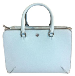 Tory Burch Robinson Leather East West Tote Satchel in Blue