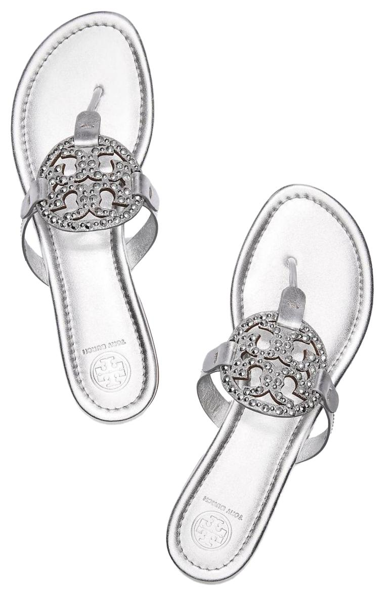 6159127bedaed8 Tory Burch Burch Burch Silver Crystal Embellished Flip Flops Flats Sandals  Size US 7.5 Regular (M
