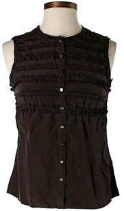 Tory Burch Sleeveless Ruffle Top Brown