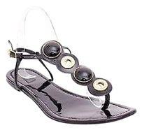 Tory Burch Tory Patent Leather Gold Enamel Thong Ankle Strap Slingback Black Sandals