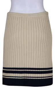 Tory Burch Womens Blue Striped Straight Above Knee Skirt Ivory