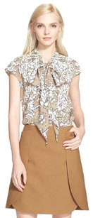 Tory Burch Stretch Silk Top Beige