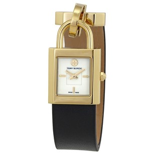 Tory Burch Surrey Ivory Dial Black Leather Ladies Watch