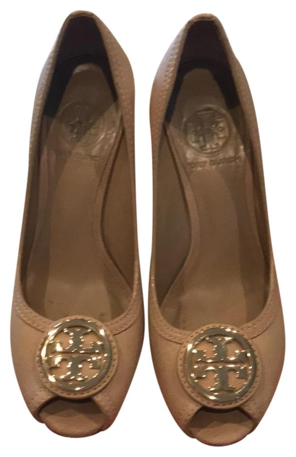 Tory Burch taupe with gold logo and wooden wedge heel Wedges
