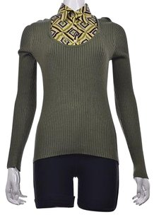 Tory Burch Womens Green Geometric Cotton Long Sleeve Shirt Top Multi-Color