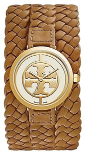 Tory Burch Tory Burch Reva Womens Watch Braided Luggage Leather Gold Tone
