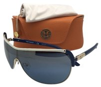 Tory Burch TORY BURCH Sunglasses Blue-Ivory-Gold Shield Frame /Blue
