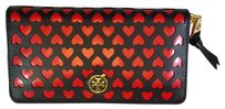 Tory Burch Tory Burch Valentine's Day Multi-gusset Zip Continental Wallet Heart Navy Blue Red Saffiano Leather