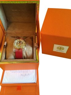 Tory Burch Tory Burch Watch, Authentic, Red Leather Strap w/gold face