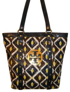 Tory Burch Tote in blue / yellow/ brown / white
