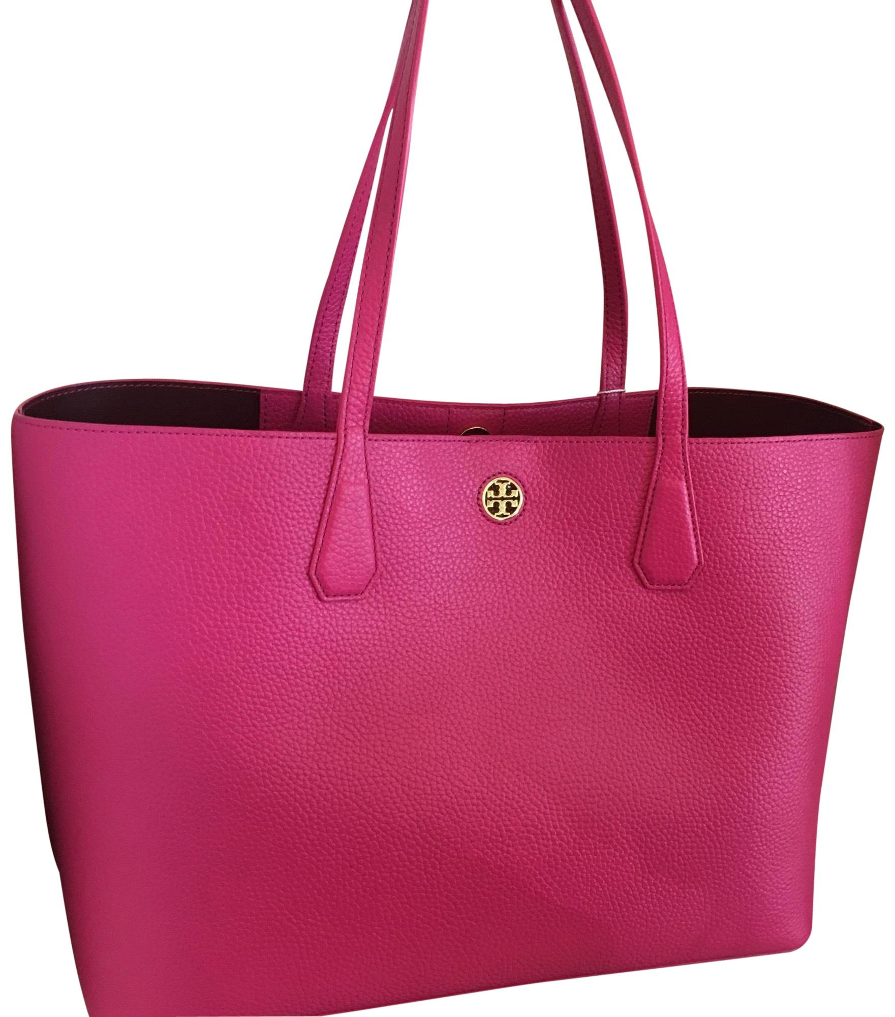 Tory Burch Hibiscus Port Flower Pebble Leather Perry Tote