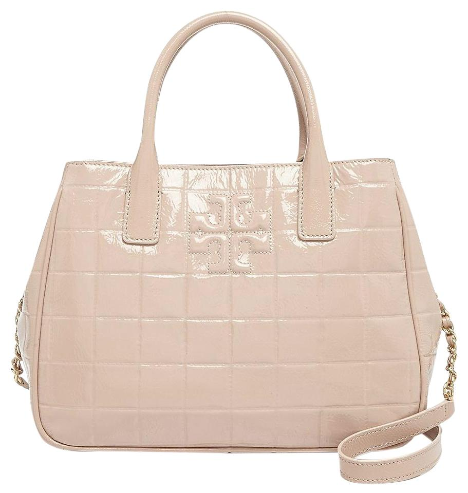 Tory Burch Marion Light Oak Quilted Patent Leather Tote