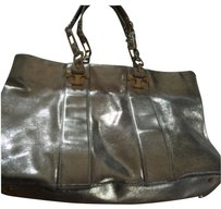 Tory Burch Distressed Nico East West Tote in metallic gold