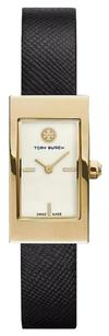 Tory Burch TRB2006 Tory Burch Buddy Signature Watch, Black Leather/Gold-Tone, 31 X 17 MM