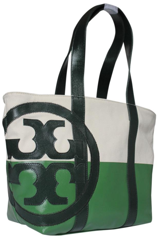 Tory Burch Tote in NATURAL PEAPOD JITNEY GREEN ...