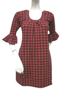 Tracy Negoshian Mari Red Black Houndstooth Cotton Bell 34 Sleeve Dress
