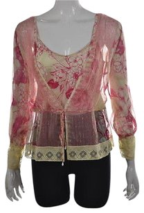 Tracy Reese Womens Pale Yellow Floral Silk Long Sleeve Shirt Top Multi-Color
