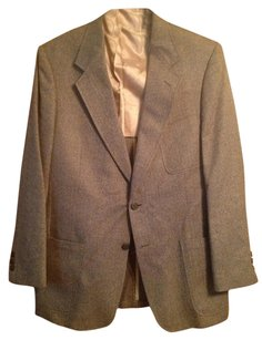 TravelSmith Mens Dress Formal Classic Jacket Suit Herringbone Brown Collared Sport Coat Blazer