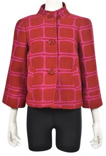 Trina Turk Womens Red Basic Multi-Color Jacket