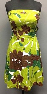 Trina Turk short dress Green Brown Cotton Lined Floral Strapless Back Tie Sm1263 on Tradesy