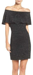 Trina Turk Sleeveless Wool Metallic Sheath Ruffle Dress