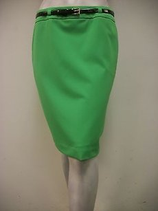 Trina Turk Belted Gold Tone Buckle Pencil Style 131920 Skirt Green