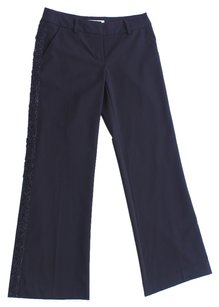 Trina Turk Holiday Glitter Metallic Beaded Polyester Viscose Elasthane Tuxedo Trouser Pants Black
