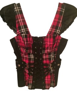 Tripp Nyc Corset Zip Zip Up Top Pink plaid