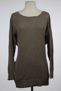 Trouvé Womens Speckled Crewneck Open Back Long Sleeve Sweater
