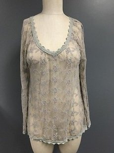 True Grit Cotton Blend Floral Lace V Neck Sheer Mesh Sma7683 Top Gray