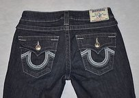 True Religion Embroidered Pockets Low Rise Boot Cut Jeans