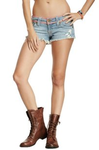 True Religion Joey Flower Cut Off Shorts Blue